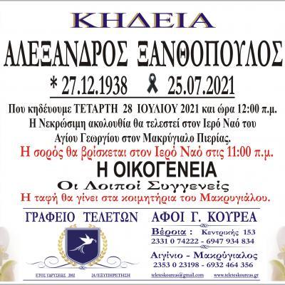 Κηδεία Αλέξανδρος Ξανθόπουλος