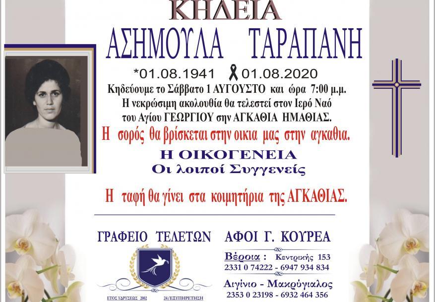 Κηδεία Ασημούλα Ταραπάνη