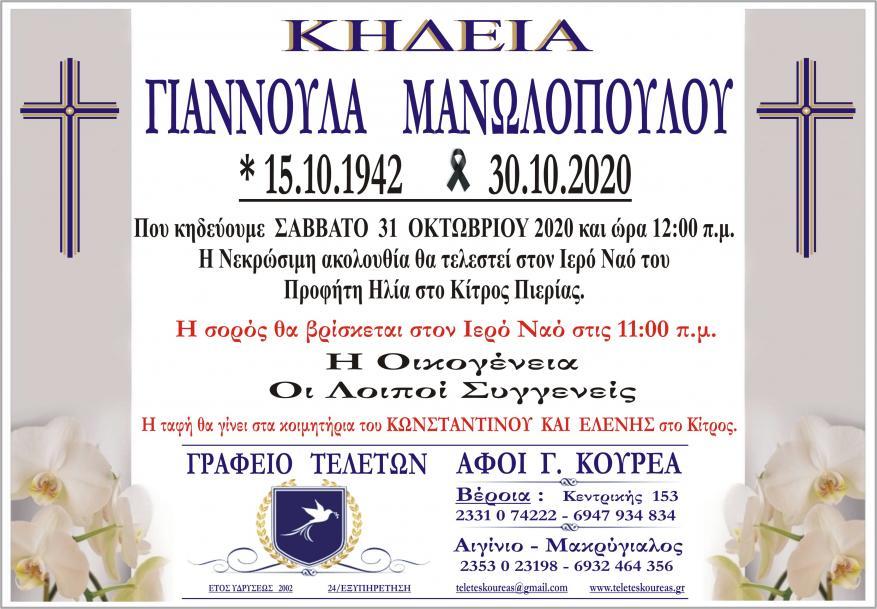 Κηδεία Γιαννούλας Μανωλοπούλου