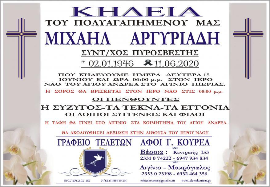 Κηδεία Μιχαήλ Αργυριάδη