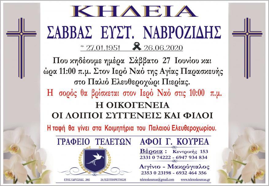 Κηδεία Σάββας Ναβροζίδης