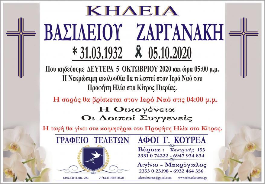 Κηδεία Βασίλειος Ζαργανάκης